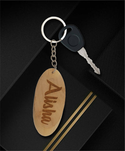 Wooden engraved oval keychain
