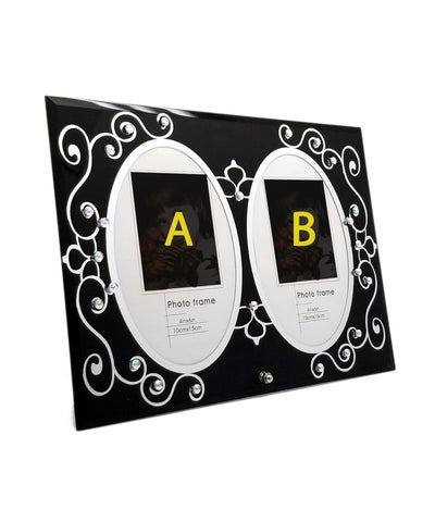 Two Photo Black Elegant Glass Frame