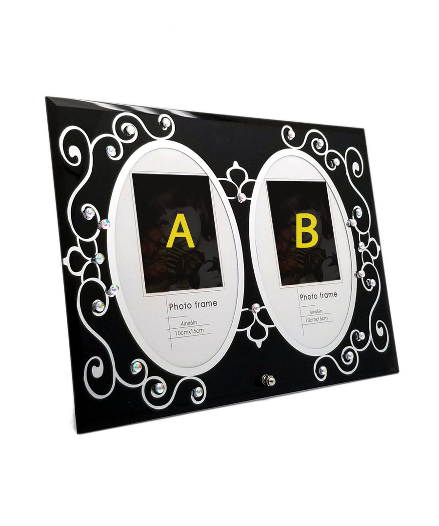Two Photo Personalized Black Elegant Glass Frame