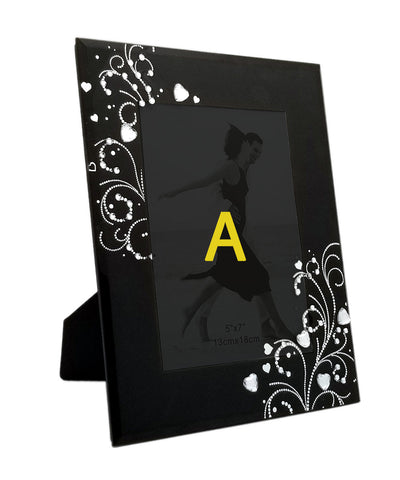 Black Floral Glass Photo Frame