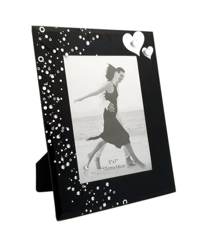 Personalized Black Elegant Glass Photo Frame