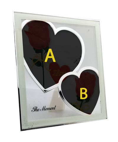 Red Roses With Personalised 2 Photos In Heart Glass Frame
