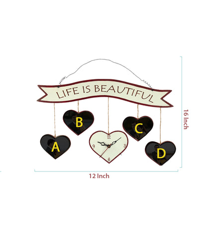 Hanging Heart Shape 4 Photo Wall Clock