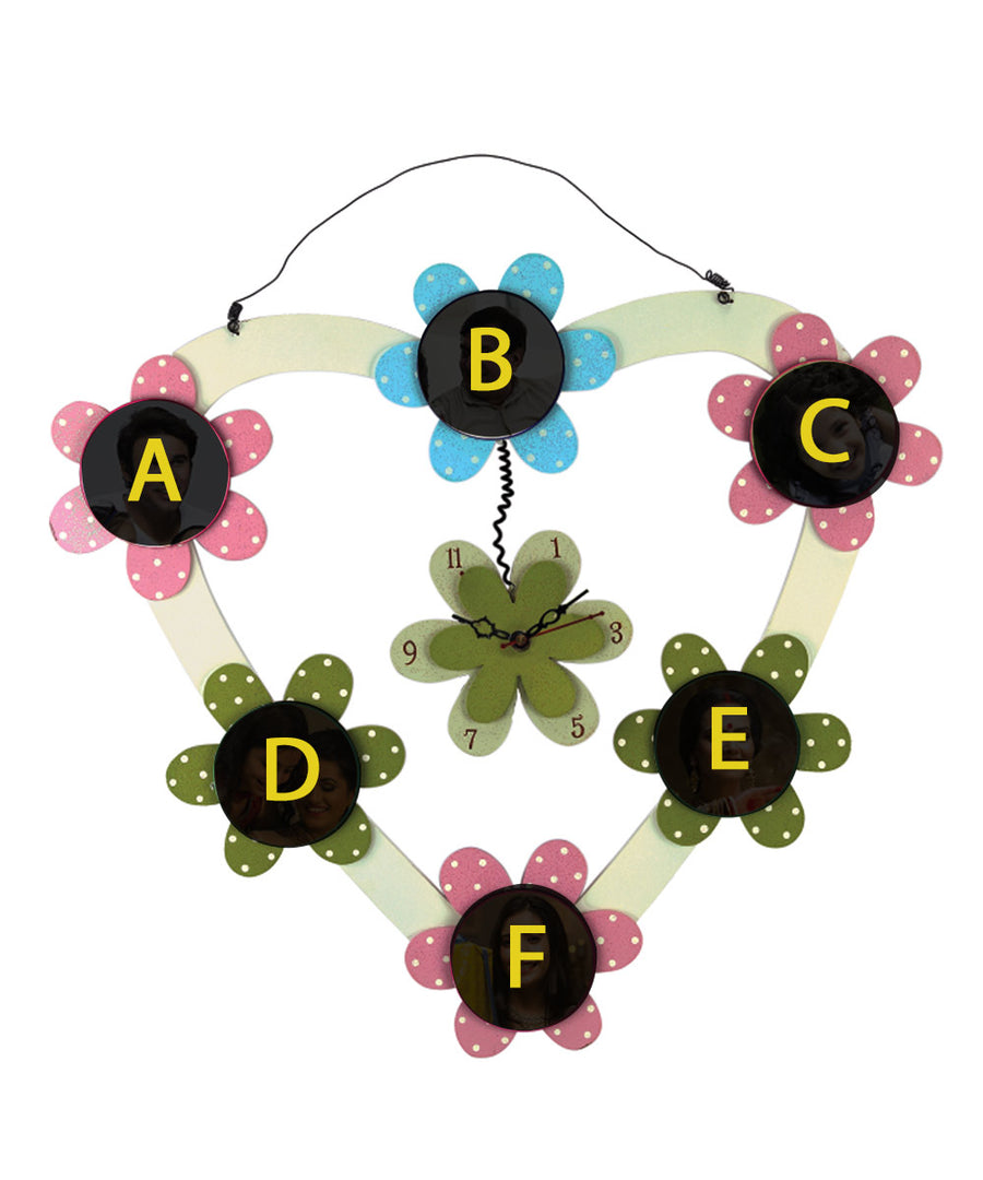 Hanging Flower Shape 6 Photo Wall Clock