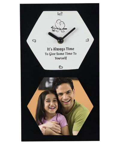 Its Always Time To Give Some Time To Yourself Wooden Clock With Sublimation Tile