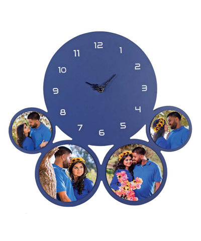 Purple Wall Clock With 4 Personlized Photos