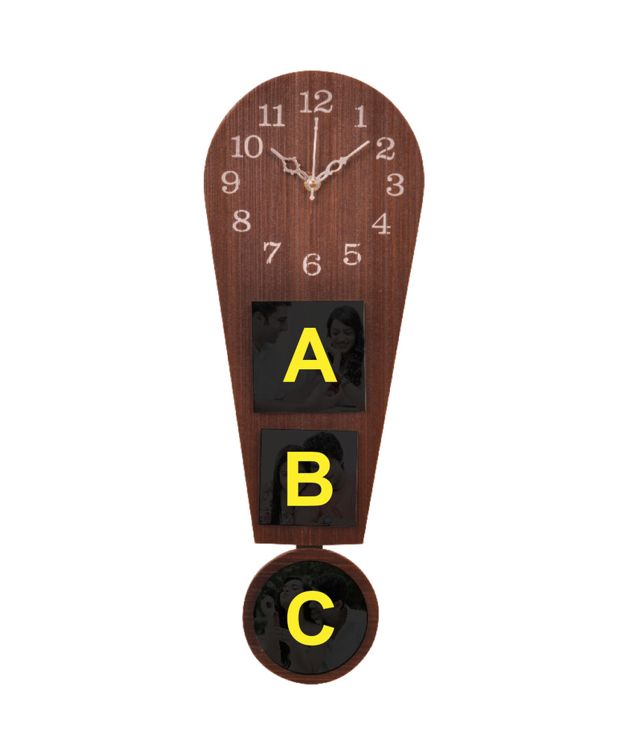 3-Foto Subli Wood Wooden Wall Clock