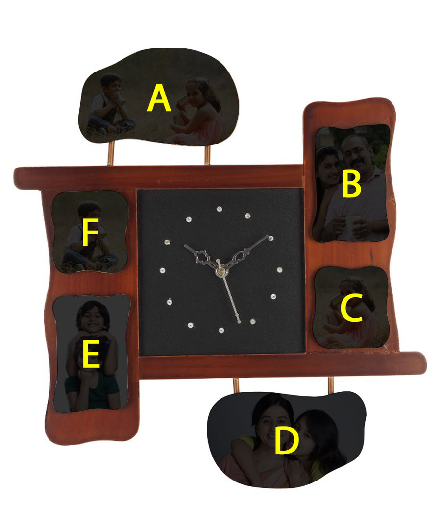 Wall Clock With 6 Personalized Photos