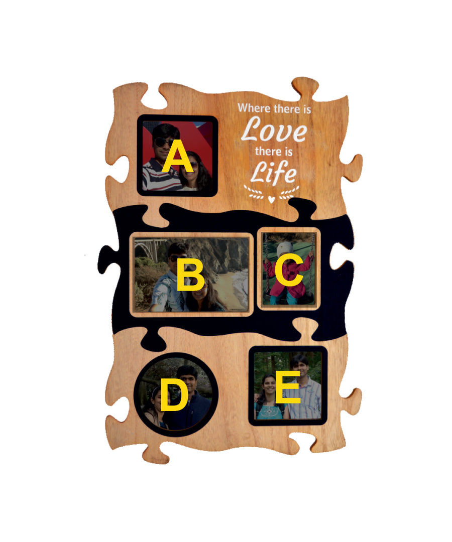 Wooden Collage Photo Frame - 5 Photos