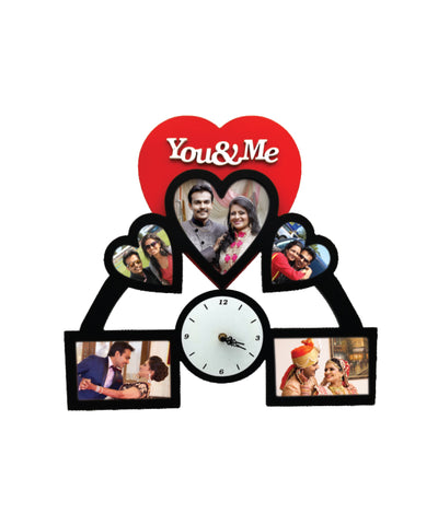 Wooden Collage Frame With Clock-5 Photos