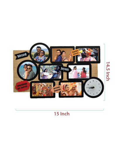 Wooden Collage Frame With Clock-8 Photos
