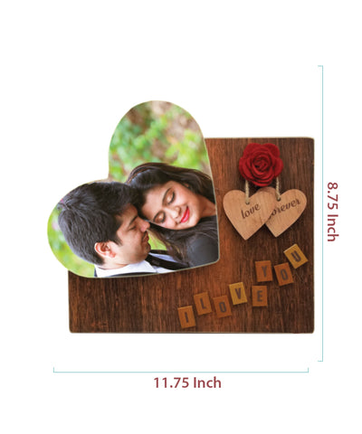 Wooden Frame With Big Heart Tile