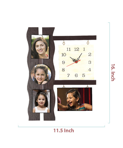 4-Foto Subli Wood Wooden Wall Clock
