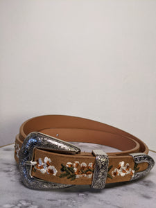 Tan Belt with Embroidered