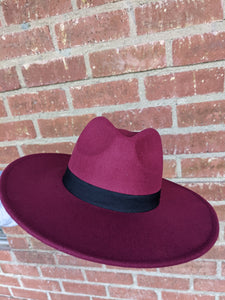 Fedora Burgundy Hat
