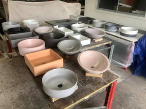 Baby Rectangle 430mm Concrete Basin - Assorted Colours