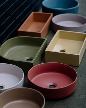 Grand Rectangle 535mm Concrete Basin - Assorted Colours