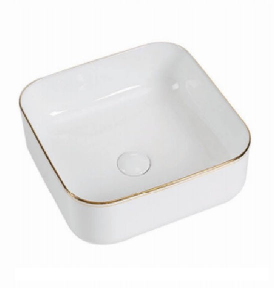 ATHENS 385mm Square White w/Gold Edge Ceramic Basin