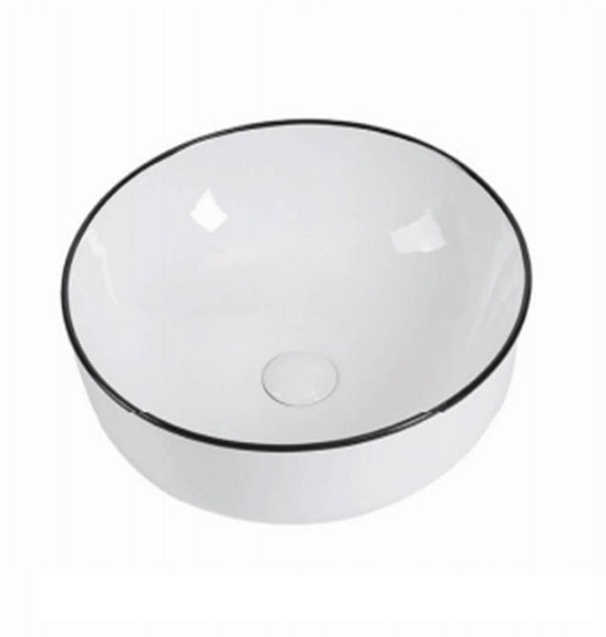 LISBON 415mm Round White w/Black Edge Ceramic Basin