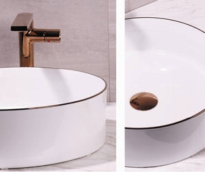 MONACO 360mm Round White w/Rose Gold Edge Ceramic Basin