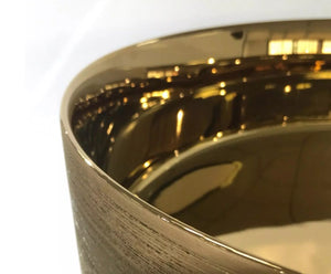 BERLIN 360mm Round Gold/Gold Ceramic Basin