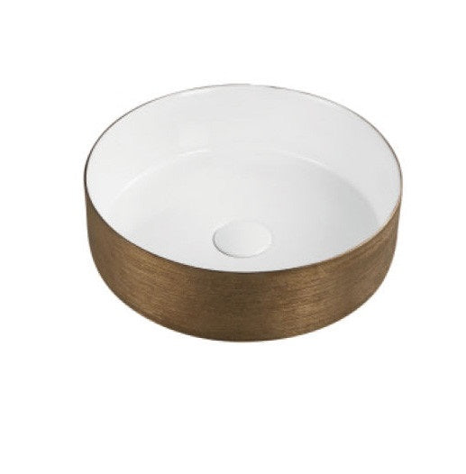 BERLIN 360mm Round Rose Gold/White Ceramic Basin