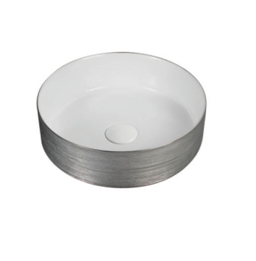 BERLIN 360mm Round Silver/White Ceramic Basin