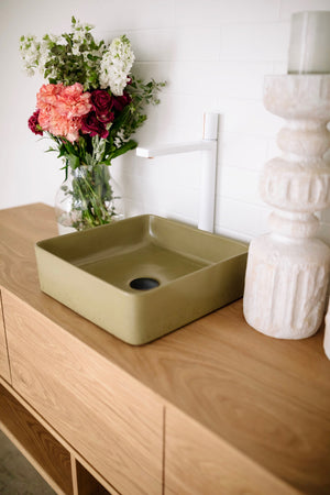 Rounded Square 360mm Concrete Basin - Assorted Colours