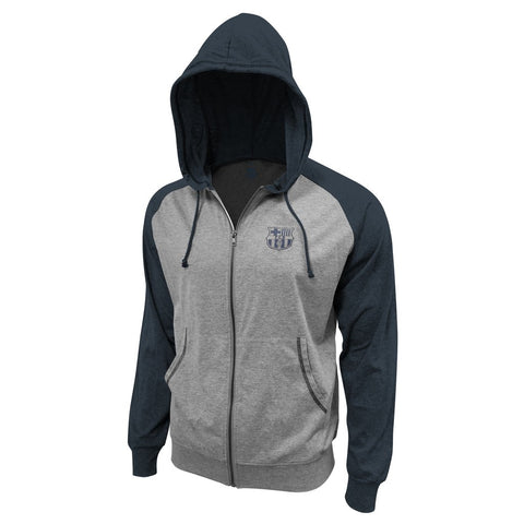 FC Barcelona FCB Hoodie Jacket Winter 2020 Zip Up Blue Grey Messi Spain La Liga Soccer