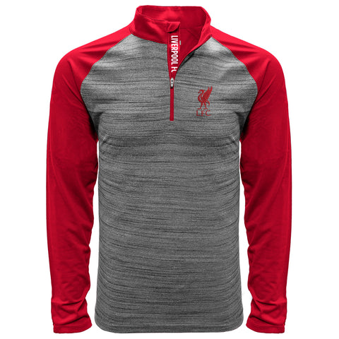 Liverpool Men's Heathered Gray Vandal FC Text Quarter-Zip Raglan Pullover Jacket
