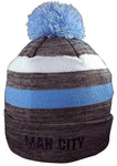 Manchester City Knit Winter Pom Beanie - Striped