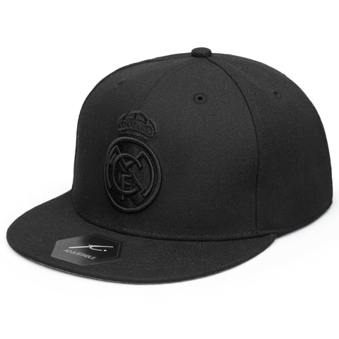 Real Madrid Black Snapback Adjustable Hat Cap Blackout