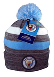 Manchester City Knit Winter Pom Beanie Hat Cap Striped