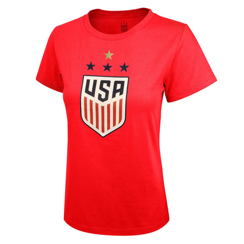 US Soccer USWNT Women World Cup 4 Star T Shirt Red