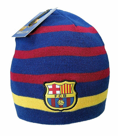 FCB Barca Barcelona Knit Winter Beanie Cap Striped
