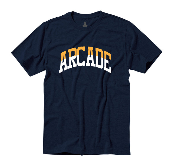 Arcade Two-Tone Arch Tee - Navy/Orange/White