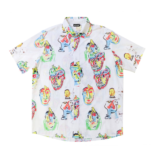 Arcade x Adam Wharekawa 'Braniacs' Cotton Short Sleeve Button Up Shirt