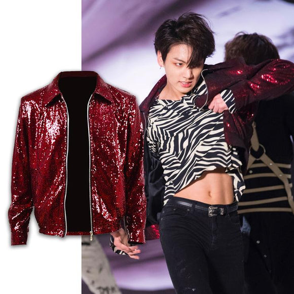 BTS Fake Love Jungkook Red Sequin Jacket