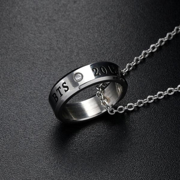 BTS Member Steel Ring Necklace