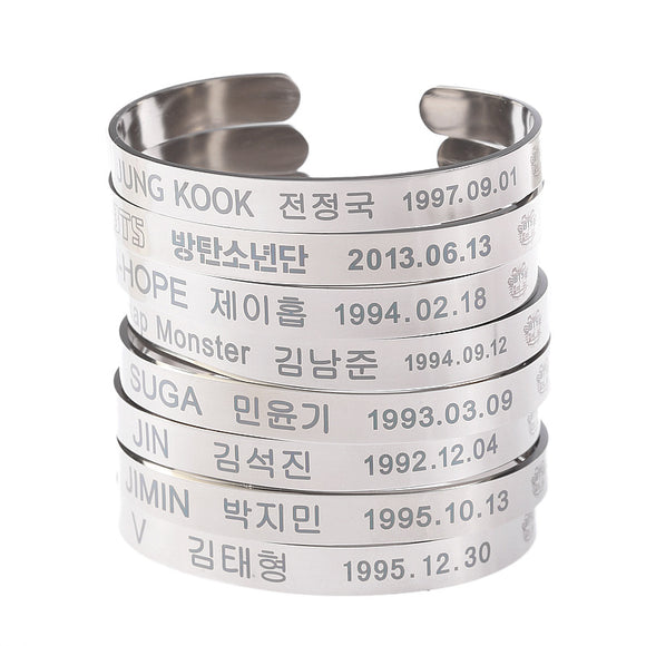 BTS Members Wristbands - silver titanium