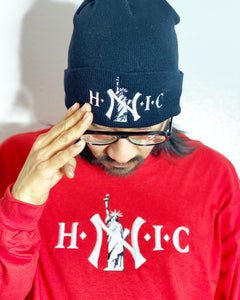 "HEAD NEW YORKER IN CHARGE "" BLACK "" SKULLY ( WHITE TEXT )"
