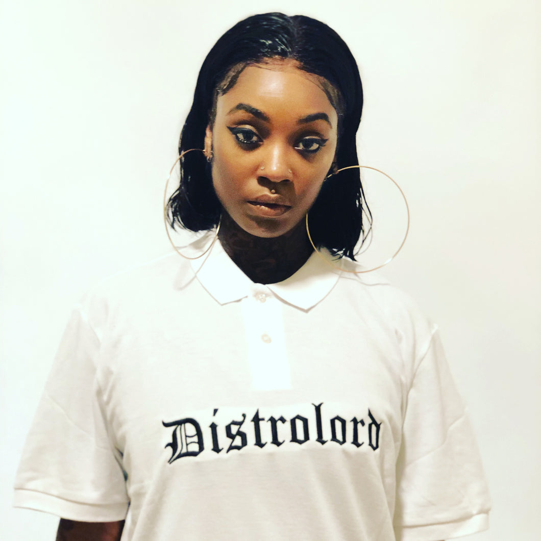 DISTROLORD EXECUTIVE WHITE POLO (BLACK EMBROIDERY)