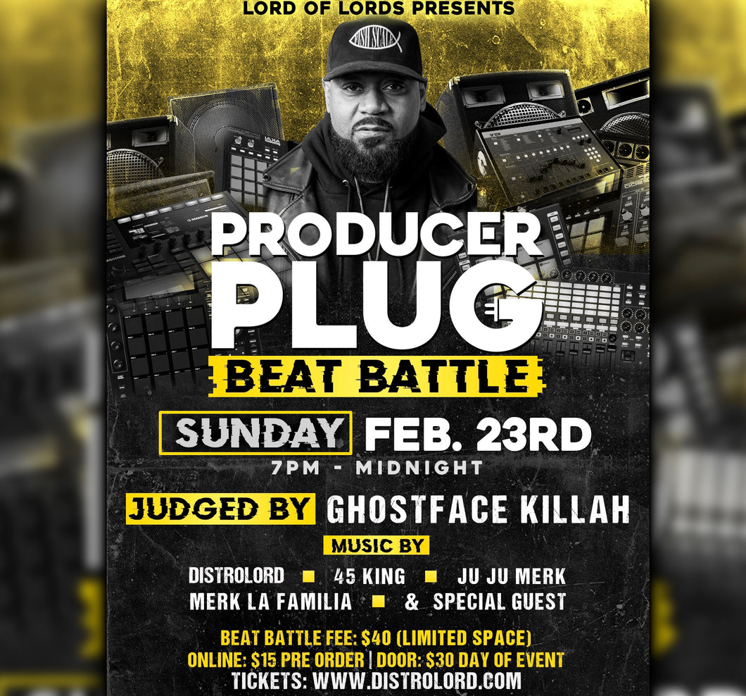 PRODUCER PLUG (BEAT BATTLE) NYC  SUNDAY FEBRUARY  23RD, 2020