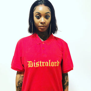 DISTROLORD EXECUTIVE RED POLO (GOLD EMBROIDERY)