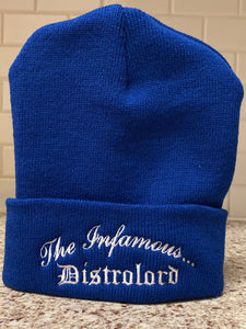 THE INFAMOUS DISTROLORD BLUE SKULLY ( WHITE TEXT )
