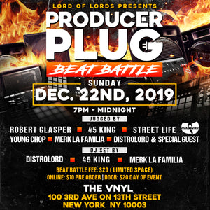 PRODUCER PLUG (BEAT BATTLE) NYC  SUNDAY DECEMBER 22nd, 2019