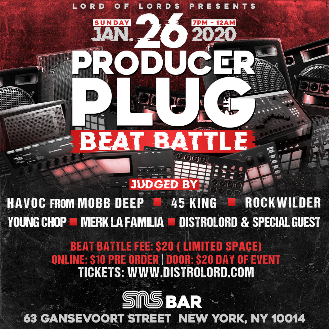 PRODUCER PLUG (BEAT BATTLE) NYC  SUNDAY JANUARY 26TH, 2020