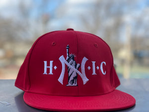 "HEAD NY IN CHARGE "" RED "" SNAPBACK (WHITE TEXT)"