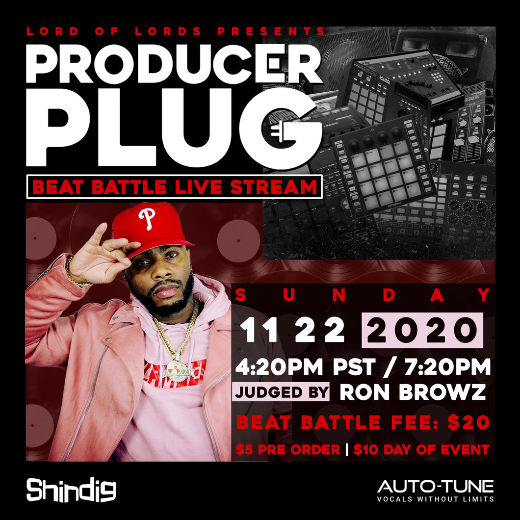 "PRODUCER PLUG BEAT BATTLE ""RON BROWZ"" SUNDAY NOVEMBER 22ND, 2020"