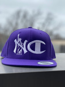 """NYC"" PURPLE SNAP BACK ( WHITE TEXT )"